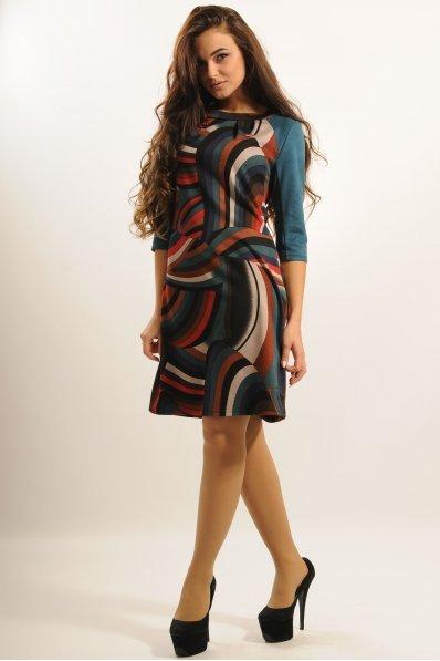 Плаття з принтом абстракція та рукавами із замші