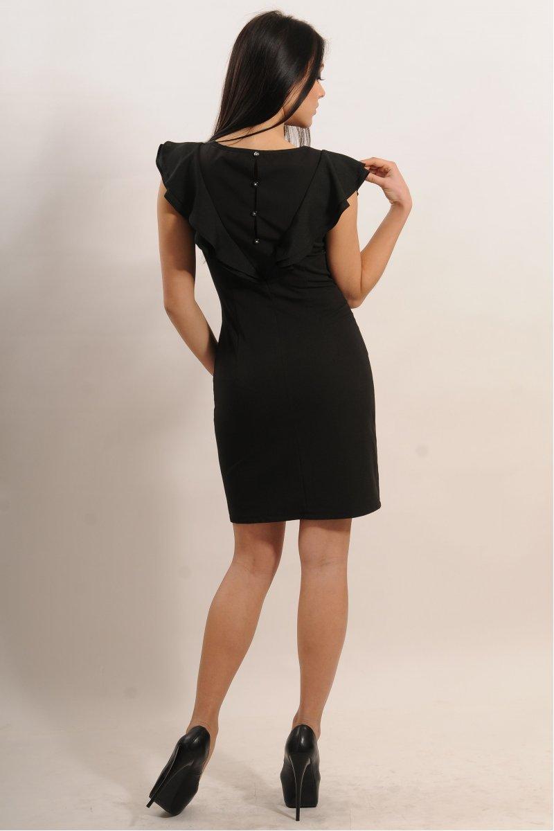bcb7a0f9bd9269f Купить платье - Черное платье с воланом