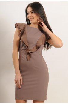 Платье с воланом цвет капучино
