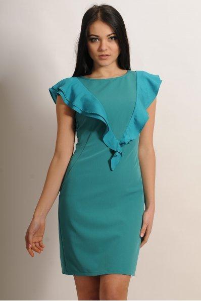 Мятное платье с воланом