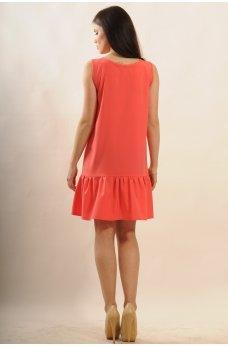 Платье с воланом по подолу коралл