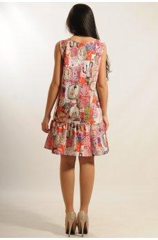 Платье с воланом по подолу принтованное