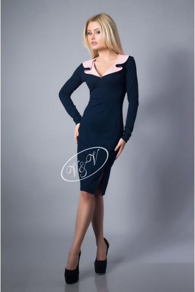 Элегантное синее платье с воротником волан