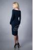 Элегантное синее платье с воротником волан - фото 1