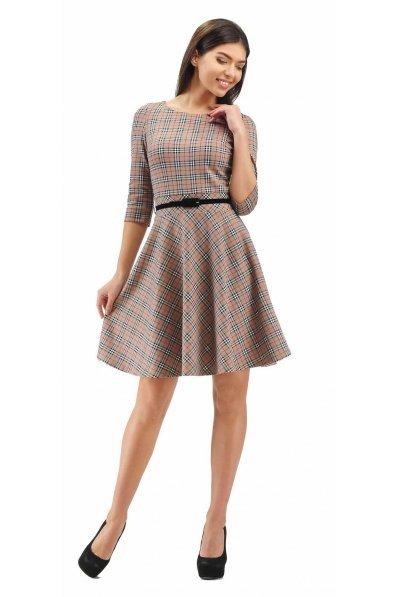 Клетчатое платье с юбкой полусолнце