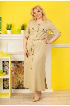 Длинное платье сафари бежевого цвета