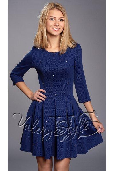 Синее платье с бусинами