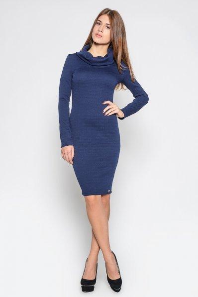 Синее платье с шалевым воротником