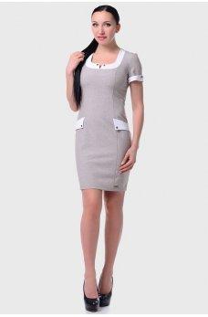 Светло-серое платье футляр  с отделкой