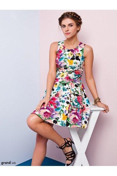 Платье с пышной юбкой малиновый принт