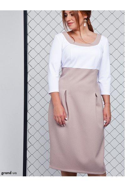 Платье тюльпан бежевого цвета