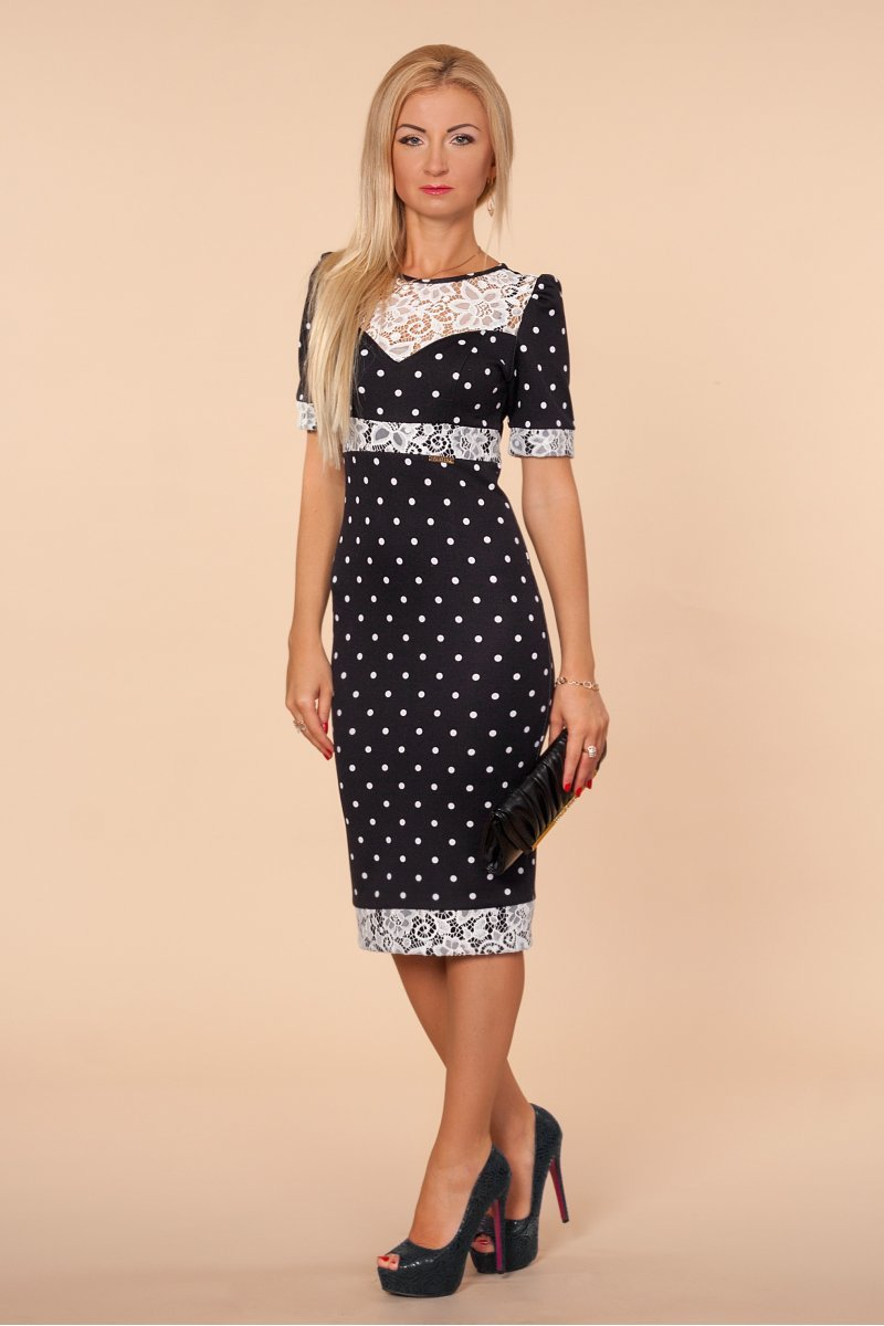 6cf493c2fe5 Купить платье - Черное платье в белый горошек с гипюром