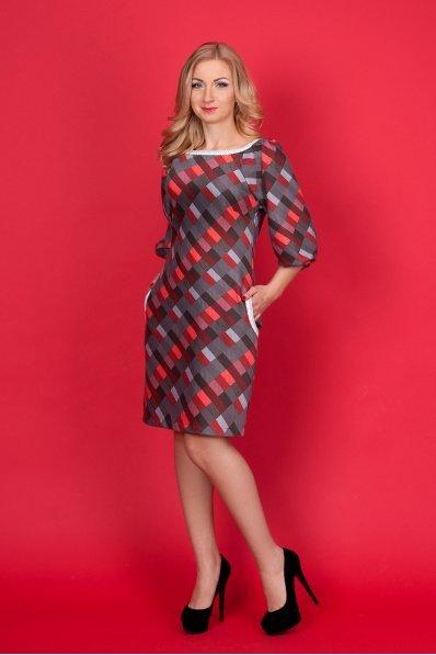 Платье в красную клетку с кружевом
