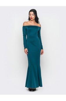 Утонченное платье в пол с открытыми плечиками