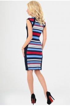 Платье в полоску с вставками по бокам