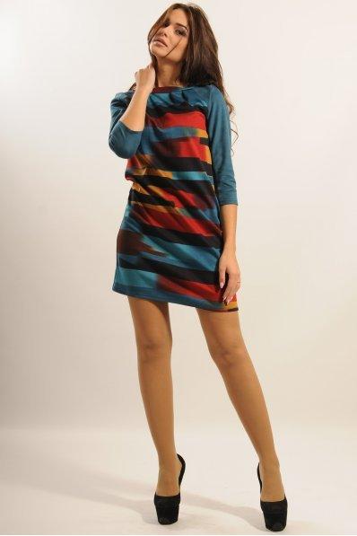 Платье с графическим принтом и рукавами из замши