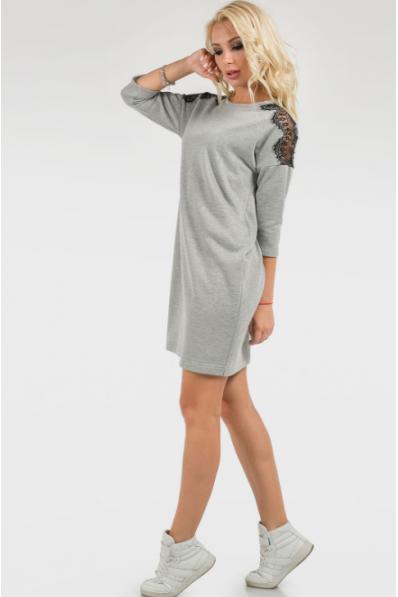 Повседневное платье мешок светло-серого цвета