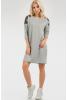 Повседневное платье мешок светло-серого цвета - фото 1