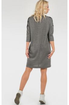 Повседневное платье мешок темно-серого цвета