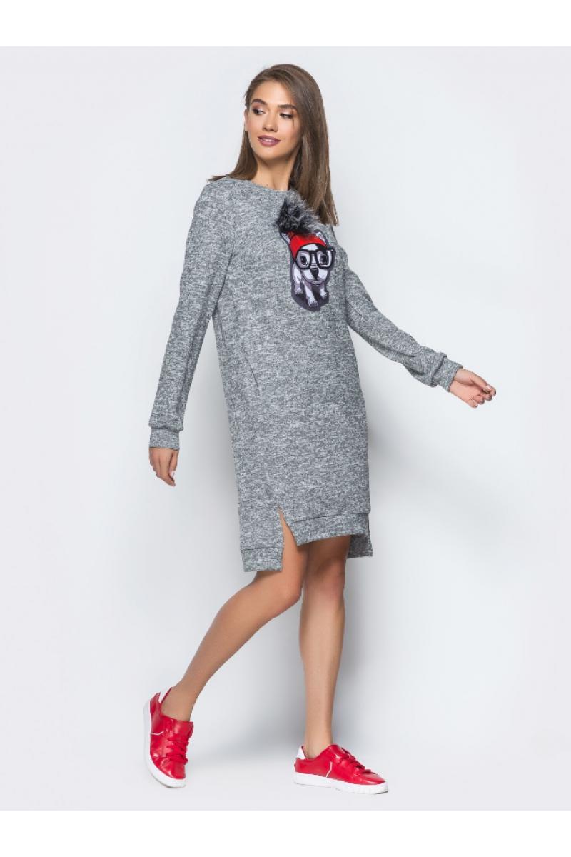 1cfc79d62e1 Повседневное платье с удлиненной спинкой и разрезами по бокам