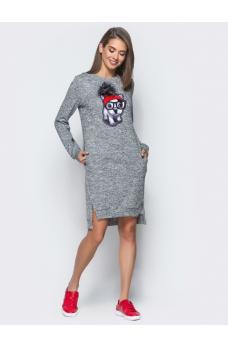 Повседневное платье с удлиненной спинкой и разрезами по бокам