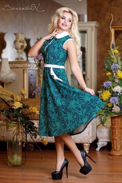 Платье миди с бирюзовым принтом
