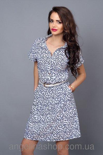 Принтованное платье рубашка из креп-шифона