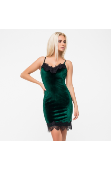 Платье-комбинация из велюра изумрудного цвета