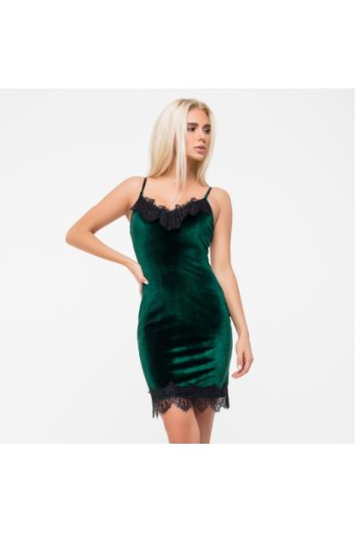 a1fdec252f73ac Плаття-комбінація з велюру смарагдового кольору