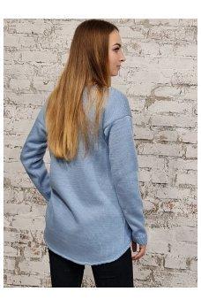 Голубой шерстяной джемпер с ассиметричным низом