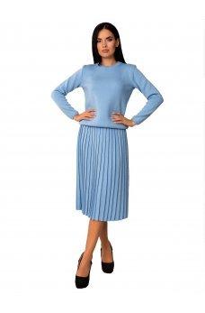 Теплый вязаный голубой костюм с плиссированной юбкой
