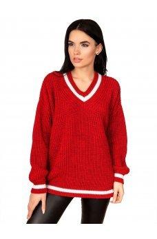 Красный вязаный свитер с V-образным вырезом и контрастной вставкой