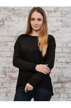 Черный шерстяной джемпер с ассиметричным низом