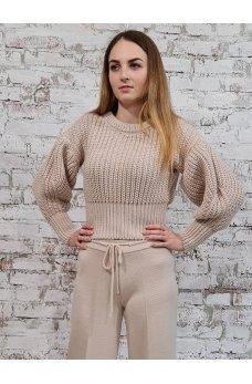 Короткий кремовый свитер крупной вязки