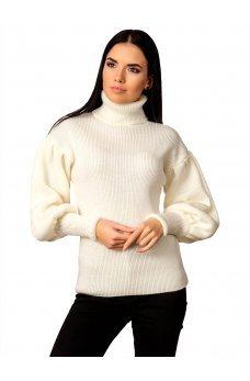 Оригинальный молочный свитер с рукавом епископ