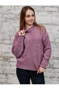 Нежный теплый свитер сливового цвета