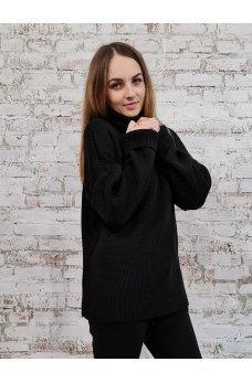 Вязаный свободный черный свитер