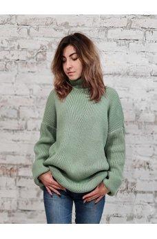 Вязаный свободный свитер фисташкового цвета