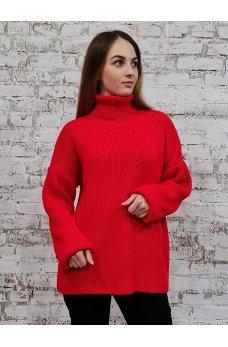Вязаный свободный свитер алого цвета