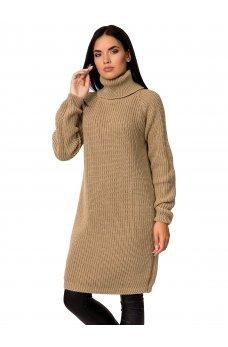 Вязаное платье карамельного цвета