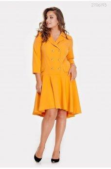 Двубортное яркое желтое платье