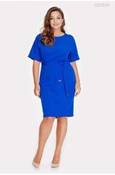 Лаконичное синее платье с поясом