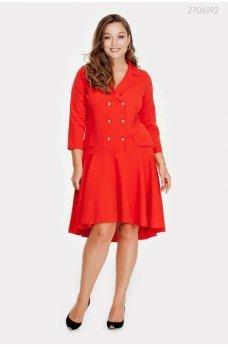 Двубортное яркое красное платье