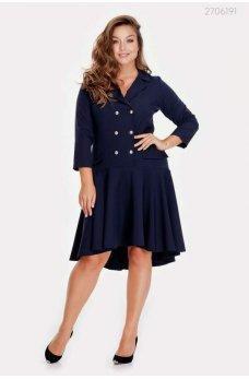 Двубортное темно-синее платье