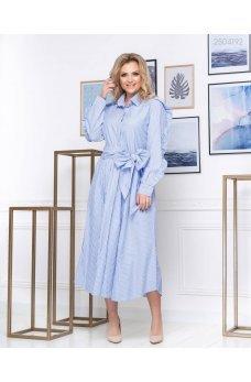 Воздушное полосатое голубое платье