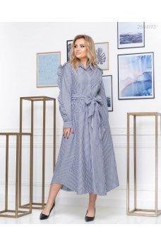 Воздушное полосатое серое платье