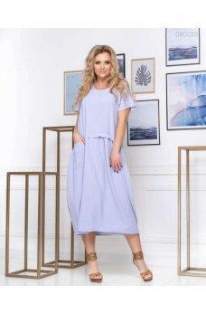 Легкое свободное платье голубого цвета