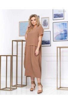 Легкое свободное платье коричневого цвета
