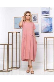 Легкое свободное платье розового цвета