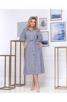 Стильное серое платье в полоску